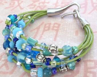 Avocado Green Leather Cord/Blue Bead Bracelet, Multistrand, Blue Green Bracelet, FREE SHIPPING