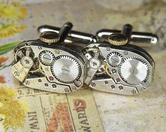 STEAMPUNK Cufflinks Cuff Links - Torch SOLDERED - Vintage Rectangular Watch Movements w Intricate Bridge Design - Birthday Anniversary