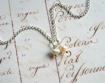Two Freshwater Pearls - Enchanted Petite Necklace - pearls, white, beach inspired, ocean, Summer necklace, minimal necklace, modern, ooak