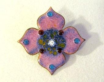 Colorful Vintage Enameled Copper Flower Pin