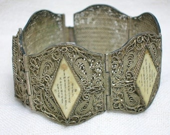 Antique Chinese Filigree Silver Bracelet with Poetry Panels, Bone Carved, Scrimshaw