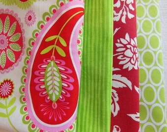 Paisley Cloth Napkins - Lime Green Stripe Napkins - Red Flower Napkins - Green Circle Napkins - Red Napkins - Green Napkins - Picnic Napkins