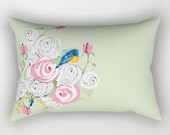 Rectangular Throw Pillow, Bluebirds and Pink Roses on green companion pillow