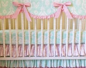SALE--VALENTINES SALE---- Bumperless Crib Bedding- Baby Bedding- Made to Order- Mint and Light Pink
