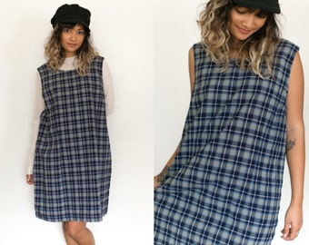 90s Plaid Jumper Dress / Sleeveless Plaid Dress / Pinafore Mini Tartan Short Dress / Checkered Retro Blue Tan Boxy Oversized Grunge Preppy