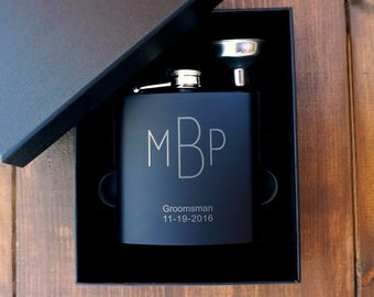 Groomsman Flask Gift Set, Personalized Flask with funnel and gift box, Engraved Flask Gift Set, Groomsmen Flask, Custom Flask