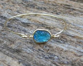 Gold Bangle Bracelet / Cobalt Blue Bracelet / Bridesmaid Gift / Bridesmaid Jewelry / Bridesmaid Bracelet / Gift  For Her