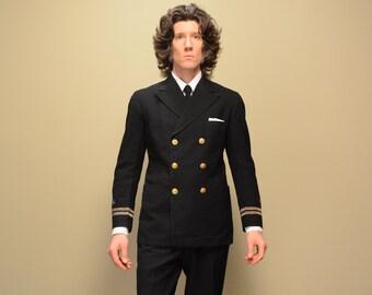 vintage 30s Navy officer uniform dress blacks Scott & Company named uniform lieutenant Richard J Gordon 36 36S wwi wwii 1930