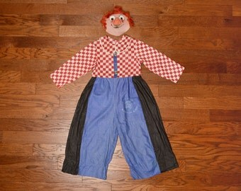 vintage Raggedy Andy costume 40s Happy Go Lucky mesh gauze linen mask 1940 Halloween costume small petite adult child
