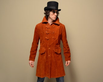 mens vintage jacket 60s 70s suede hippie jacket mod rocker 1960 1970 rust orange pimp count trench Mexico 38 40 medium M