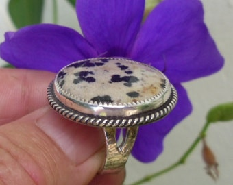 R105--Dalmation Jasper Sterling Silver Ring--FREE SIZING-- Gemstone, Vintage Style -Handmade