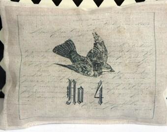 Lavender Sachet ~ Bird ~ Script Background ~ No. 4