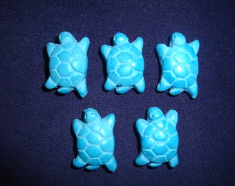 """Set of 5 Bright Turquoise Polymer Clay 1"""" Turtle Bead Pendants"""