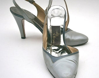 Vintage Gray Ladies Shoes High Heels Pumps Slingback Women Size 5 Amalfi Rangoni Two Tone Italian All Leather Designer Iconic Made In Italy