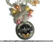 Custom Best Friend Black And White Damask Background  With Butterfly Glass Dome Bezel Necklace And Matching Beads