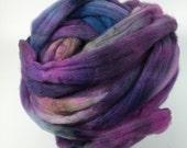 Superwash Merino Roving, hand dyed, pencil roving, spinning fiber, Wolf Pack