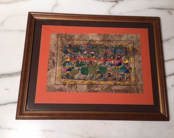 Vintage Original Mexican Bark Painting Framed Folk Art Mexico