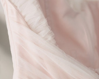 Blush Pink Tulle Wedding Dress - Vintage Style Ball Gown - Kristine Style