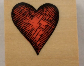 Shaded Heart Love Romance Wooden Rubber Stamp