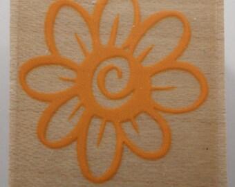 Daisy Flower Garden Botanical Wooden Rubber Stamp