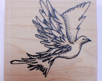 Stampington And Co Wooden Rubber Stamp Stipple Flying Dove