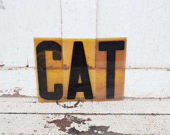 "Vintage CAT Sign Marquee Word Letters Plastic Black Yellow Orange 9"" Acrylic Aged Patina Wall Window Spelling Party Halloween Decoration"