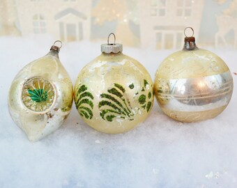 Vintage Christmas Ornaments Green Pearl Silver Teardrop Double Indent Hand Painted Stenciled Shiny Brite Set of 3 Three 1950's