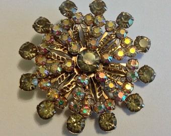 Vintage Multi Colors Round AB Rhinestones Gold Tone Brooch Pin