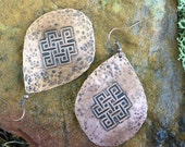 Etched Copper Eternal Knot Earrings / Handmade Tibetan Style Hammered Copper Drops
