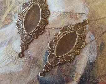 2 Vintage Gorgeous Old Brass Art DECO Light Weight Pendants Earrings