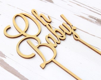 Oh Baby Cake Topper Rustic Elegance Glitter Cake Topper Wood Cake Topper