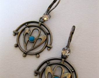 ART DECO ORIGINAL Grey Metal Stampings Czech Glass Turquoise Cabochon Swarovski Crystal French Lever Backs Nickel Free Hooks Gift For Her