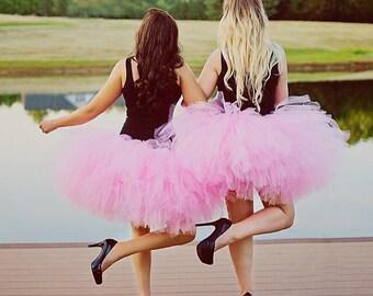 "Pink Tutu Maternity Tutu Adult Tutu Skirt Adult Cake Smash Tutu Prom Tutu Bachelorette Tutus Solid pink Adult Tutu for waist up to 34 1/2"""