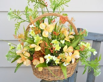 WOODLAND FLORAL Arrangement Pale Orange Rust and Lime Airy Woodsy Large Basket Arrangement