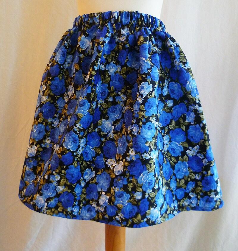 blue skirt floral skirt vintage style skirt blue floral