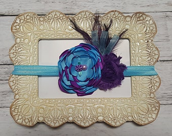 Purple & Turquoise Flower and Feather  Shabby Vintage Headband Preemie Infant Toddler Child Adult