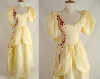 Southern Belle Vampire. Blood Trickle Dress. Halloween Costume. Beauty and the Beast. 80s Prom. Optional Tatters Holes Stains. Size XS 0 1