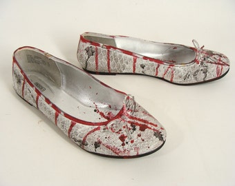 Zombie Shoes. Custom Made Bloody White Ballet Flats. Zombie Costume. Halloween Costume. Bloody Costume Shoes. US Womens Size 10
