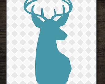 Set of 2 Woodlands Deer Head Silhouettes on Gray Quatrefoil Pattern Printable Artwork / 8x10 Instant Art Prints