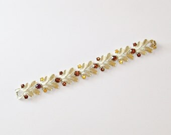 Vintage Coro Bracelet Sterling Leaves Amber Brown Rhinestones Fall Wedding Jewelry Jewellery Mid Century