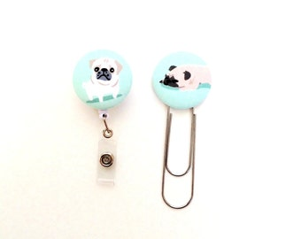 Fabric Button Bookmark Badge Reel Earrings Magnet. Pugs.