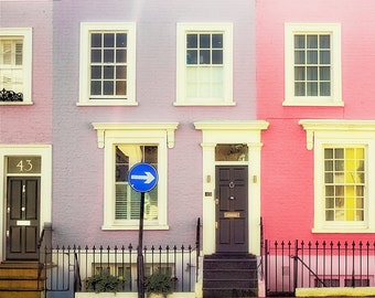 "London photography, Notting Hill houses, London colorful houses, London art print-""Rainbow Row"""