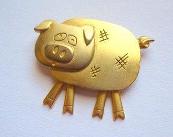 J.J. Jonette Pig Brooch, Pig Pin