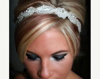 ON SALE Bridal Headband, Wedding Headband, SWEETHEART, rhinestone headband, bridal hair piece, bridal accessory