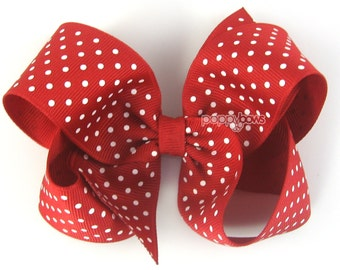 Girls Hair Bows - red polka dot hair bow - red hair bow - 4 inch hair bows - hair bows for girls -small polka dots - big hair bow large