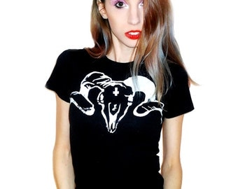 Black and White SATAN SAVES // Goat Skull T Shirt // Available in sizes Extra Small, Small, Medium, Large, and Extra Large