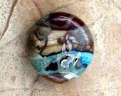 Handmade lampwork glass bead metallic landscape