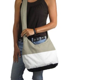 Colorblock purse. Hobo bag with Design your own choices cross body purse or shoulder bag in medium or large. black, natural, and khaki combo