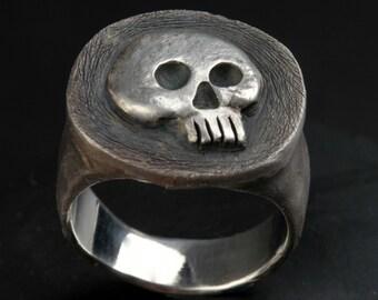 Skull Ring,Half Jaw, Mens Silver Skull Ring, Jack Sparrow,Biker ring, Rocker ring, Goth ring, Custom Sterling Silver Skull Ring,.925