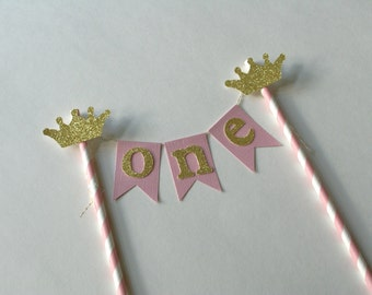 Pink and Gold Crown Cake Bunting, Pink and Gold Cake Topper, Princess Cake Topper, Princess Photo Prop,  Pink and Gold Party Decorations